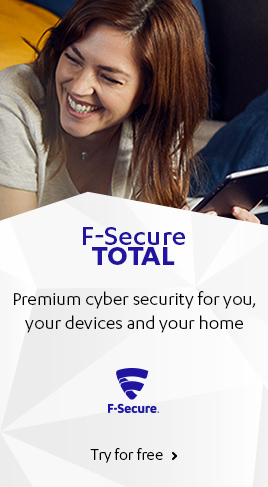 F-Secure TOTAL cyber security packages helps you protect personal information online