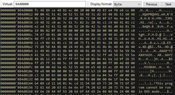 Memory analysis shellcode