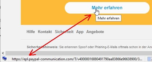 Den Mauszeiger für Infos positionieren: Die Mail stammt wirklich von Paypal.