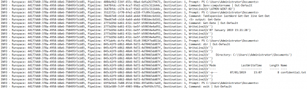 RemotePSpy Interactive PowerShell Session Log Output