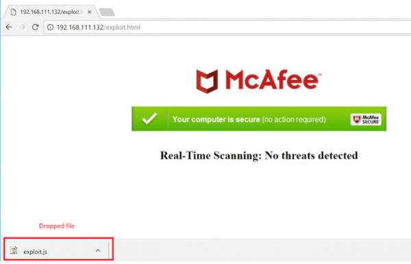 Image of internet browser and download of a malicious file