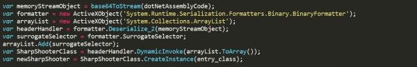 js file code snippet highlighting dotNetToJscript technique