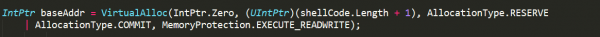 Code snippet showing virtual allocation