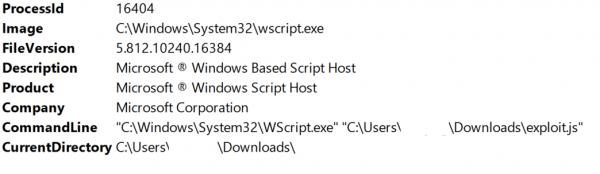 Screenshot of process logs showing wscript being used to run exploit js file