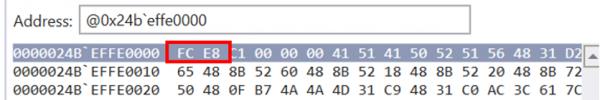 Screenshot of memory region