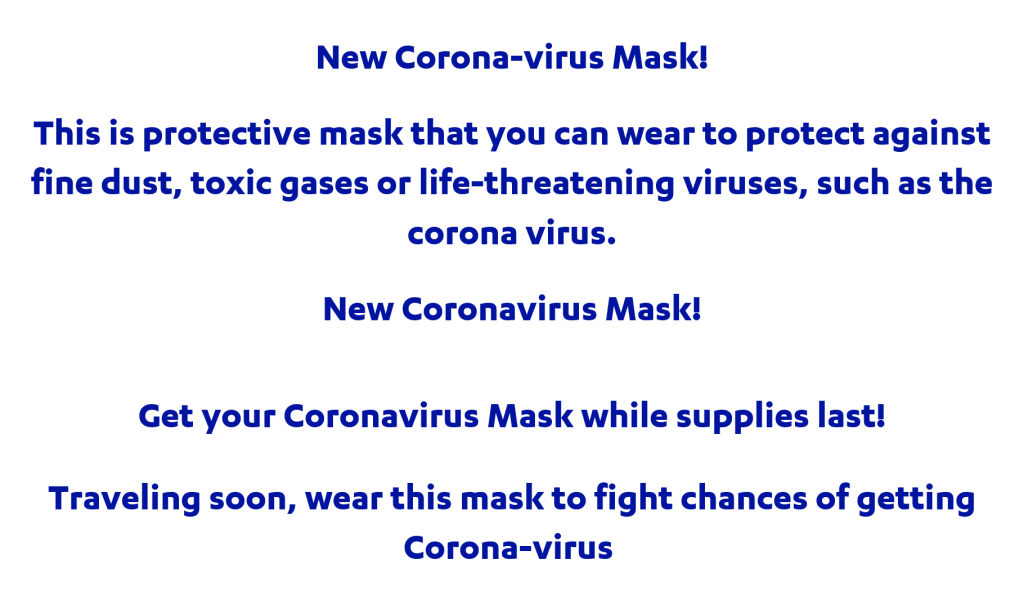 Subject lines for Cornovirus-themed mask scams spam