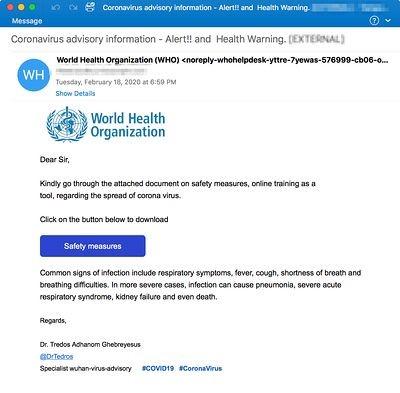 coronavirus email attacks WHO