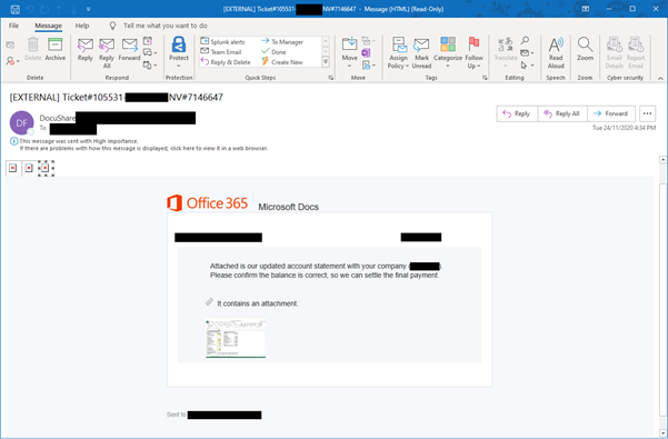 Example of Microsoft O365 phishing email