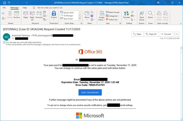 Fake Microsoft O365 password expiry email