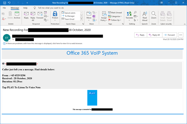 Fake Microsoft O365 VoIP system email