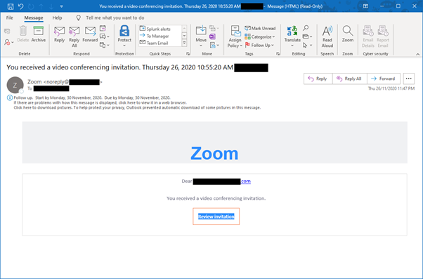 Fake email phishing for Zoom video conferencing credential