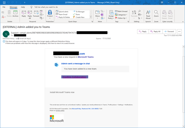 Phishing email disguised as Microsoft Teams message