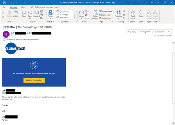 Phishing email disguised as DocuSign document review
